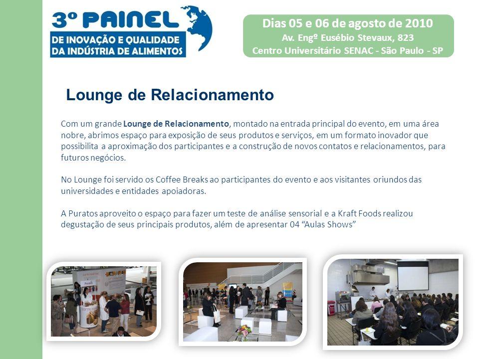 Com um grande Lounge de Relacionamento, montado na entrada principal do evento, em uma área nobre, abrimos espaço para exposição de seus produtos e se