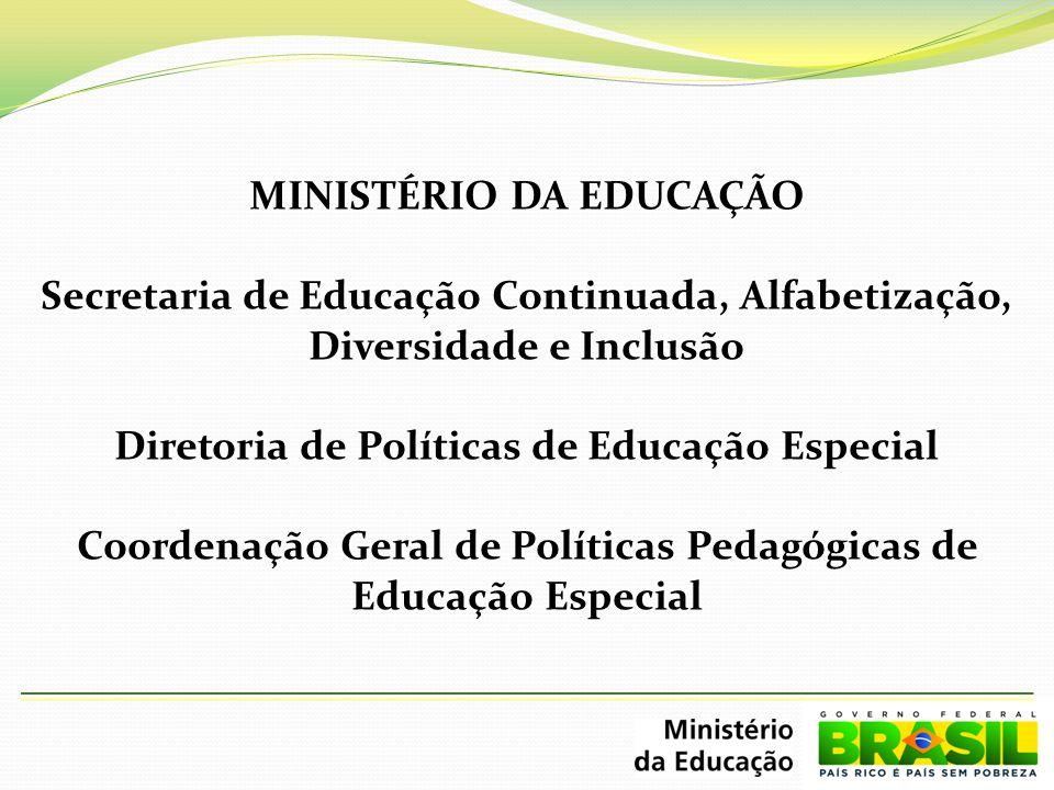 MINISTÉRIO DA EDUCAÇÃO Secretaria de Educação Continuada, Alfabetização, Diversidade e Inclusão Diretoria de Políticas de Educação Especial Coordenaçã