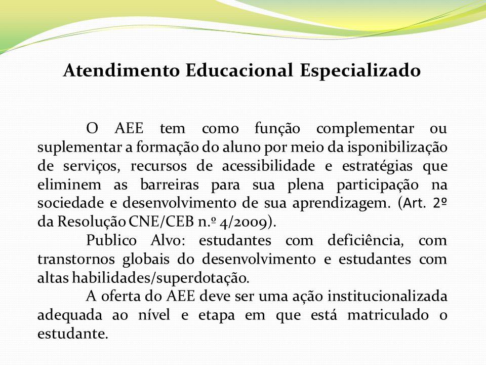 Atendimento Educacional Especializado O AEE tem como função complementar ou suplementar a formação do aluno por meio da isponibilização de serviços, r