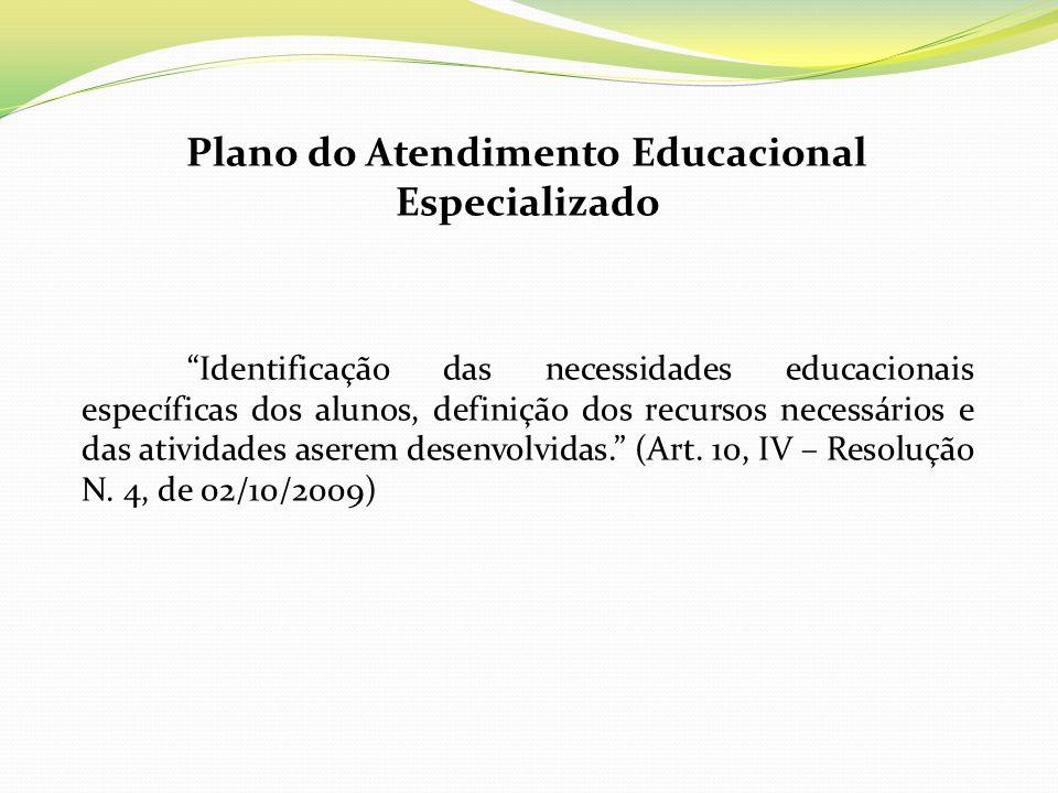 Plano do Atendimento Educacional Especializado Identificação das necessidades educacionais específicas dos alunos, definição dos recursos necessários