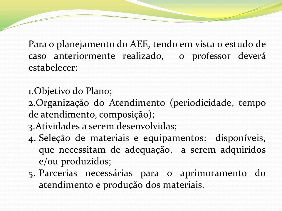 Para o planejamento do AEE, tendo em vista o estudo de caso anteriormente realizado, o professor deverá estabelecer: 1.Objetivo do Plano; 2.Organizaçã