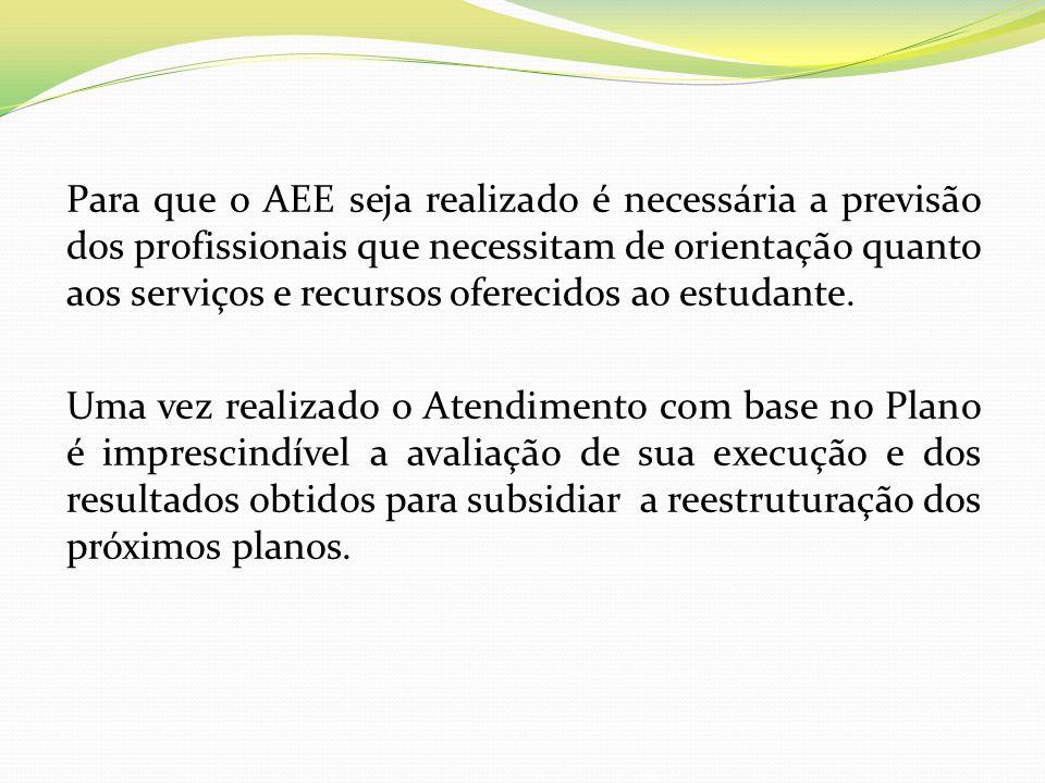 Para que o AEE seja realizado é necessária a previsão dos profissionais que necessitam de orientação quanto aos serviços e recursos oferecidos ao estu