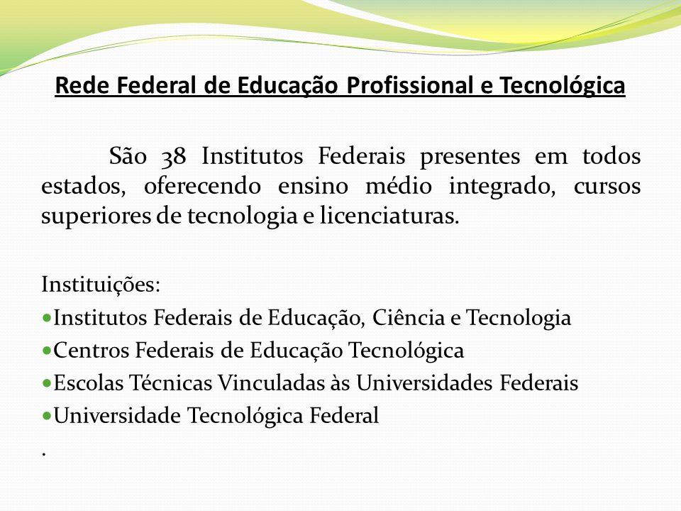 Rede Federal de Educação Profissional e Tecnológica São 38 Institutos Federais presentes em todos estados, oferecendo ensino médio integrado, cursos s