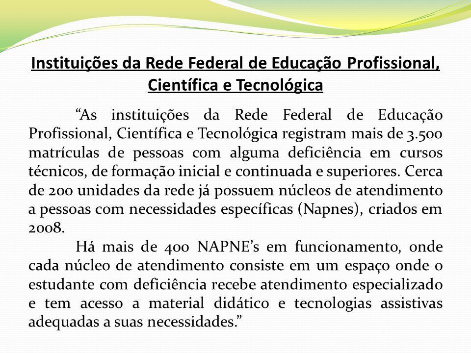 Instituições da Rede Federal de Educação Profissional, Científica e Tecnológica As instituições da Rede Federal de Educação Profissional, Científica e