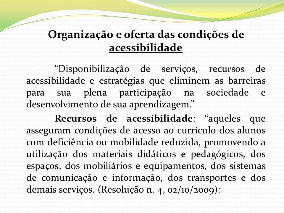 Organização e oferta das condições de acessibilidade Disponibilização de serviços, recursos de acessibilidade e estratégias que eliminem as barreiras