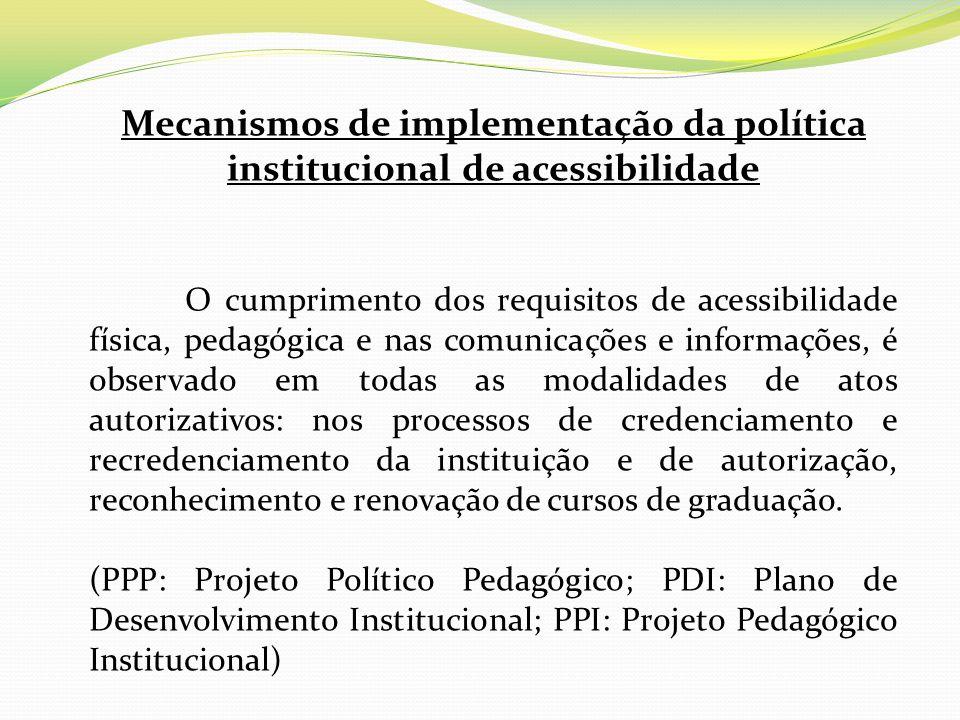 Mecanismos de implementação da política institucional de acessibilidade O cumprimento dos requisitos de acessibilidade física, pedagógica e nas comuni