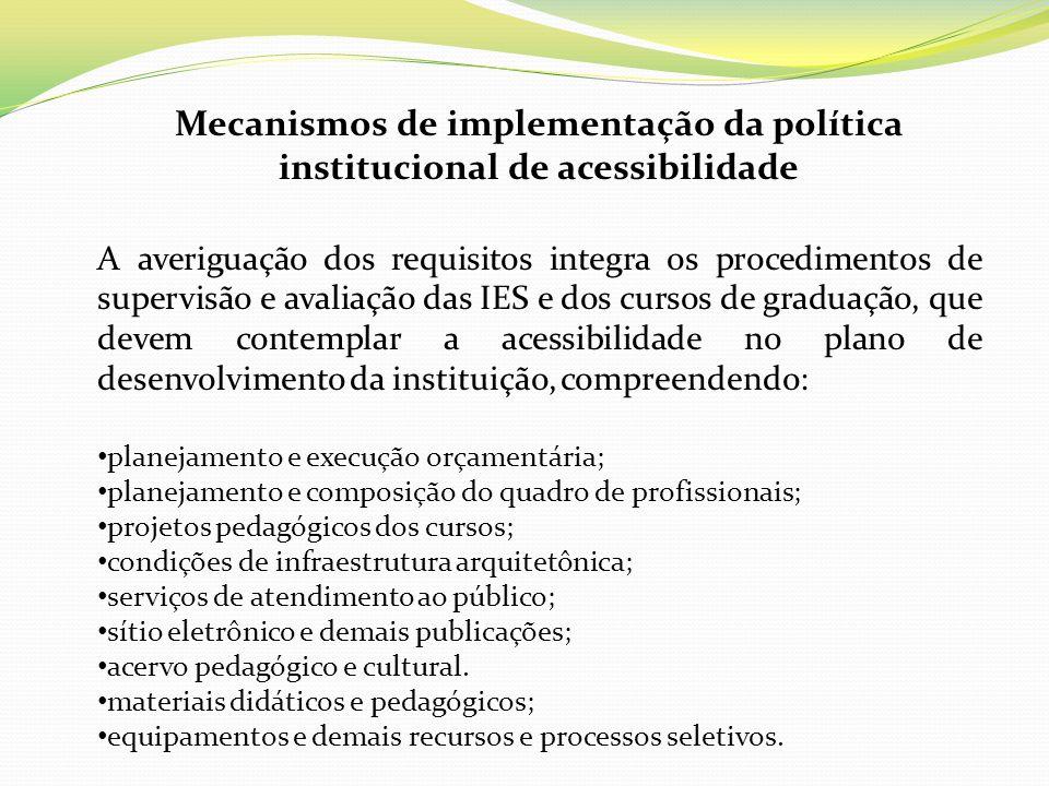 Mecanismos de implementação da política institucional de acessibilidade A averiguação dos requisitos integra os procedimentos de supervisão e avaliaçã