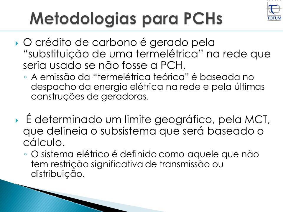 O crédito de carbono é gerado pela substituição de uma termelétrica na rede que seria usado se não fosse a PCH. A emissão da termelétrica teórica é ba