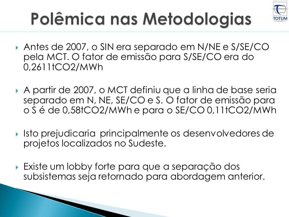 Antes de 2007, o SIN era separado em N/NE e S/SE/CO pela MCT. O fator de emissão para S/SE/CO era do 0,2611tCO2/MWh A partir de 2007, o MCT definiu qu