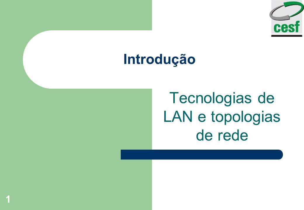 1 Introdução Tecnologias de LAN e topologias de rede