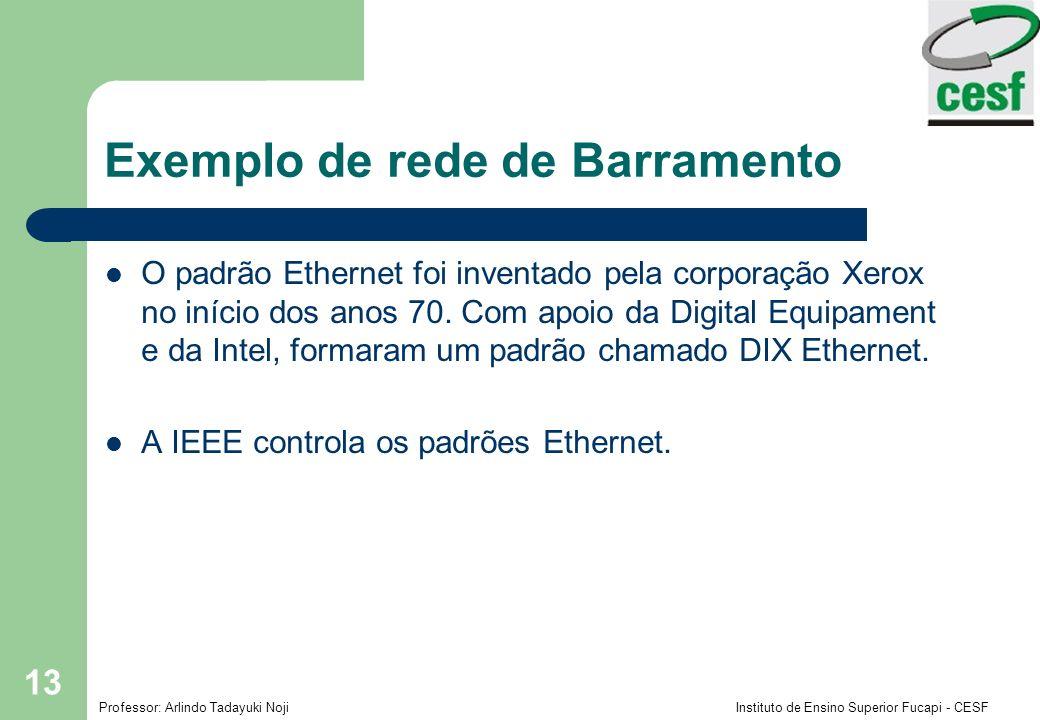 Professor: Arlindo Tadayuki Noji Instituto de Ensino Superior Fucapi - CESF 13 Exemplo de rede de Barramento O padrão Ethernet foi inventado pela corp