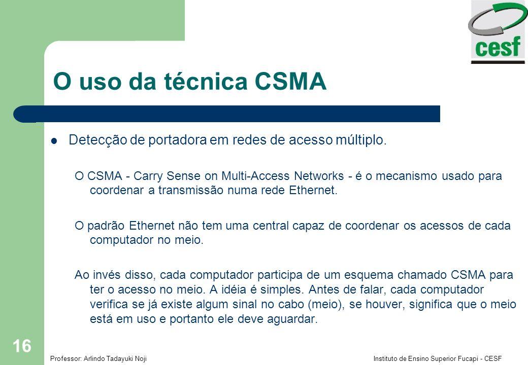 Professor: Arlindo Tadayuki Noji Instituto de Ensino Superior Fucapi - CESF 16 O uso da técnica CSMA Detecção de portadora em redes de acesso múltiplo