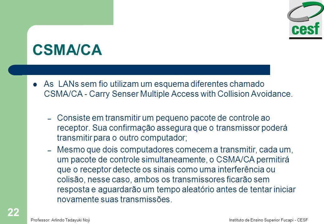 Professor: Arlindo Tadayuki Noji Instituto de Ensino Superior Fucapi - CESF 22 CSMA/CA As LANs sem fio utilizam um esquema diferentes chamado CSMA/CA