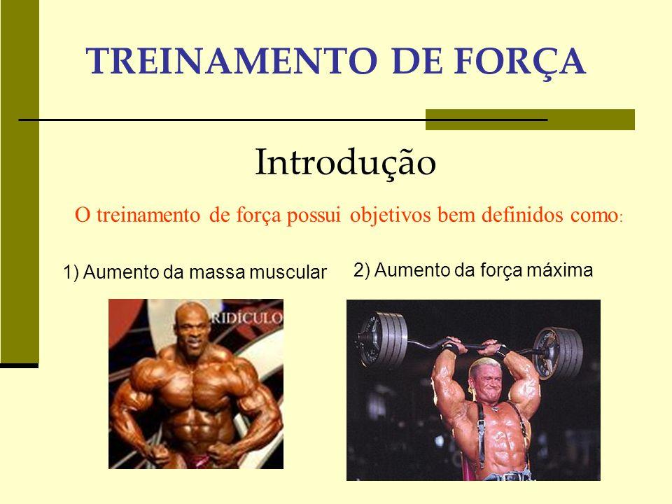 TREINAMENTO DE FORÇA Introdução O treinamento de força possui objetivos bem definidos como : 3) Potência, tônus 4) Melhoria do desempenho esportivo