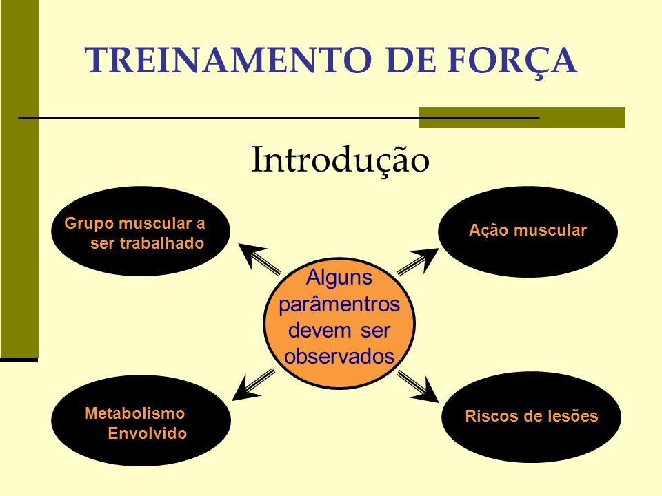 TREINAMENTO DE FORÇA As variáveis no planejamento das sessões Equipamento Dirigido Livre Escolha do exercício Ação Muscular =