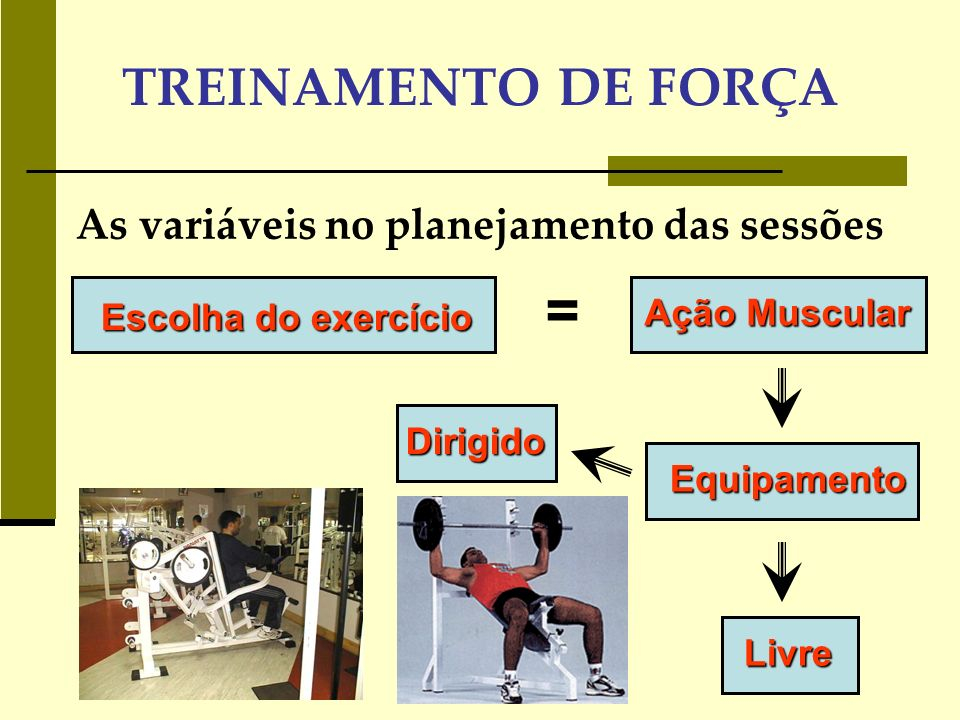 TREINAMENTO DE FORÇA As variáveis no planejamento das sessões Dirigidos : movimento padrão dado pelo equipamento, isolam os musculo em determinada articulação.