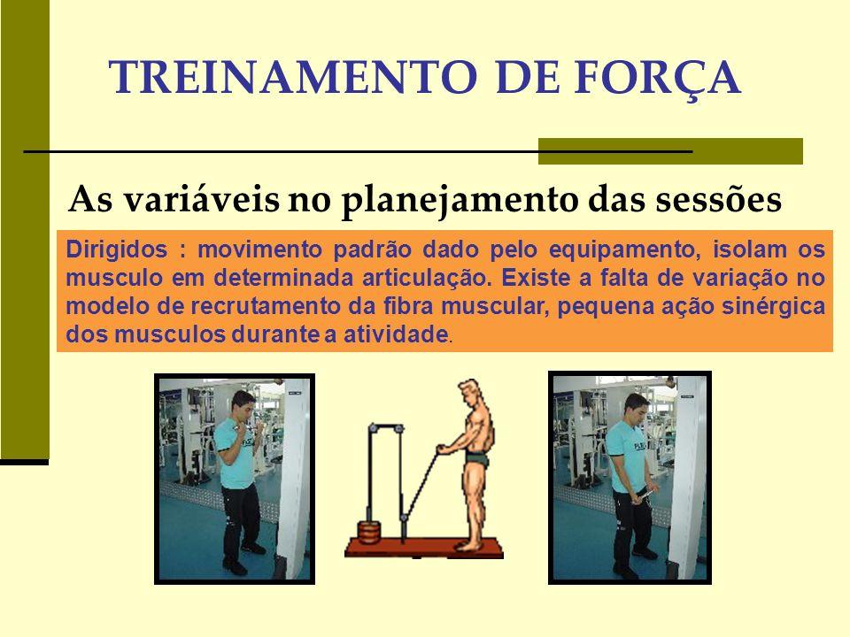 TREINAMENTO DE FORÇA As variáveis no planejamento da sessão de treino Resistência Muscular: RM acima de 15 são favoráveis Intensidade sugerida para cada tipo de objetivo