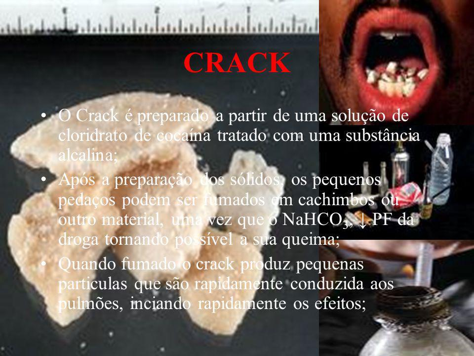 CRACK O Crack é preparado a partir de uma solução de cloridrato de cocaína tratado com uma substância alcalina; Após a preparação dos sólidos, os pequ