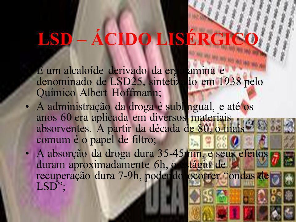 LSD – ÁCIDO LISÉRGICO É um alcaloíde derivado da ergotamina e denominado de LSD25, sintetizado em 1938 pelo Químico Albert Hoffmann; A administração d