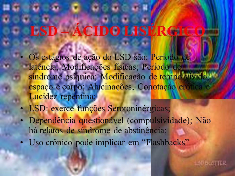 LSD – ÁCIDO LISÉRGICO Os estágios de ação do LSD são: Período de latência; Modificações físicas; Período de síndrome psíquica; Modificação de tempo vi