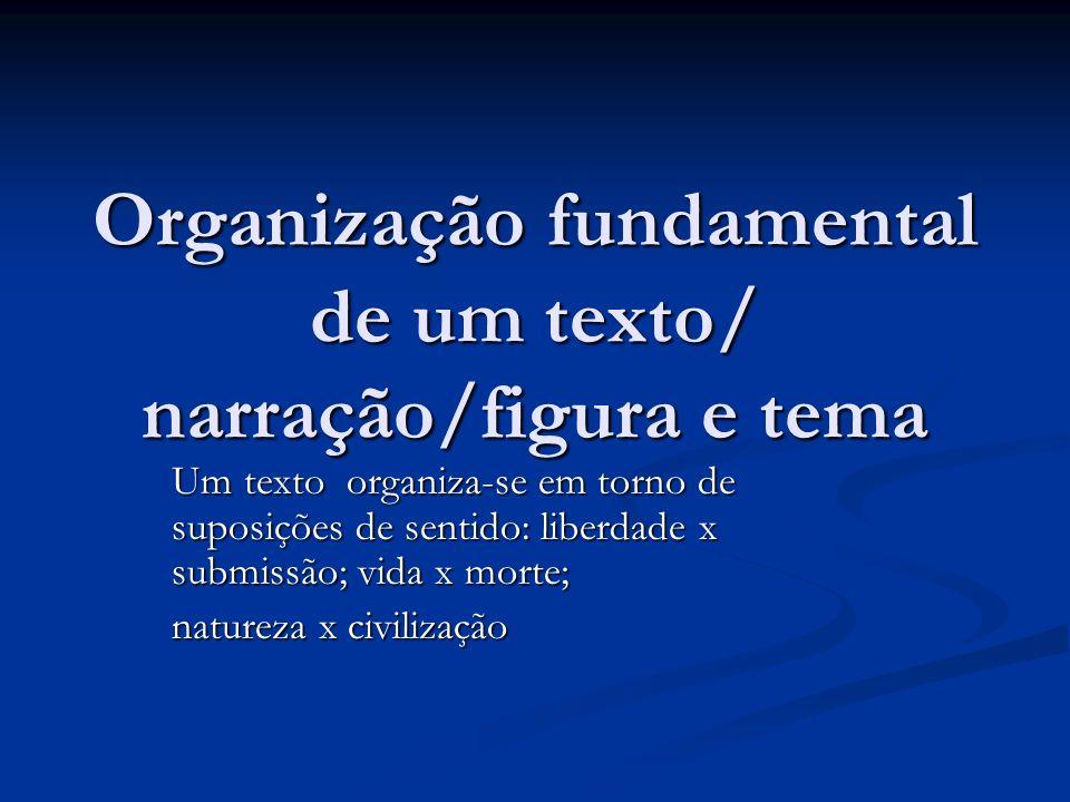 Organização fundamental de um texto/ narração/figura e tema Um texto organiza-se em torno de suposições de sentido: liberdade x submissão; vida x mort