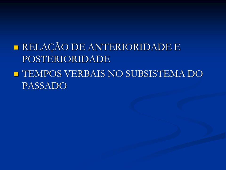RELAÇÃO DE ANTERIORIDADE E POSTERIORIDADE RELAÇÃO DE ANTERIORIDADE E POSTERIORIDADE TEMPOS VERBAIS NO SUBSISTEMA DO PASSADO TEMPOS VERBAIS NO SUBSISTE
