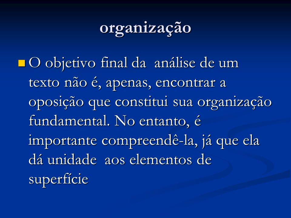 organização O objetivo final da análise de um texto não é, apenas, encontrar a oposição que constitui sua organização fundamental. No entanto, é impor