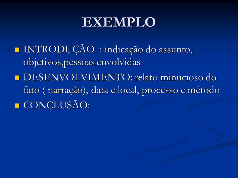 EXEMPLO INTRODUÇÃO : indicação do assunto, objetivos,pessoas envolvidas INTRODUÇÃO : indicação do assunto, objetivos,pessoas envolvidas DESENVOLVIMENT