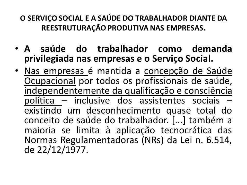 O SERVIÇO SOCIAL E A SAÚDE DO TRABALHADOR DIANTE DA REESTRUTURAÇÃO PRODUTIVA NAS EMPRESAS. A saúde do trabalhador como demanda privilegiada nas empres