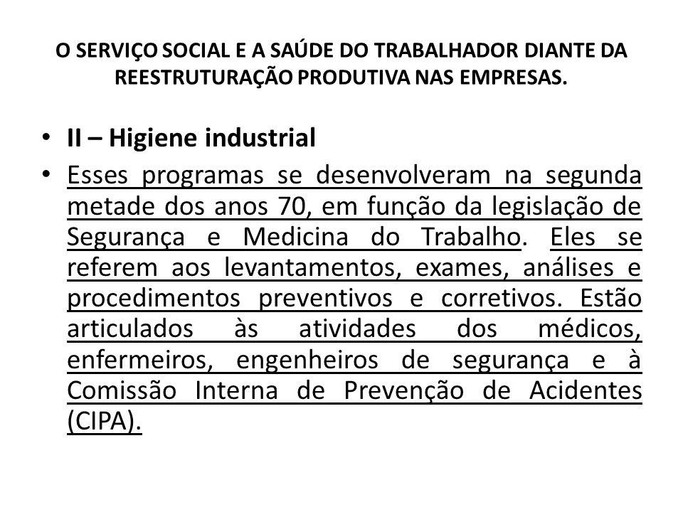 O SERVIÇO SOCIAL E A SAÚDE DO TRABALHADOR DIANTE DA REESTRUTURAÇÃO PRODUTIVA NAS EMPRESAS. II – Higiene industrial Esses programas se desenvolveram na