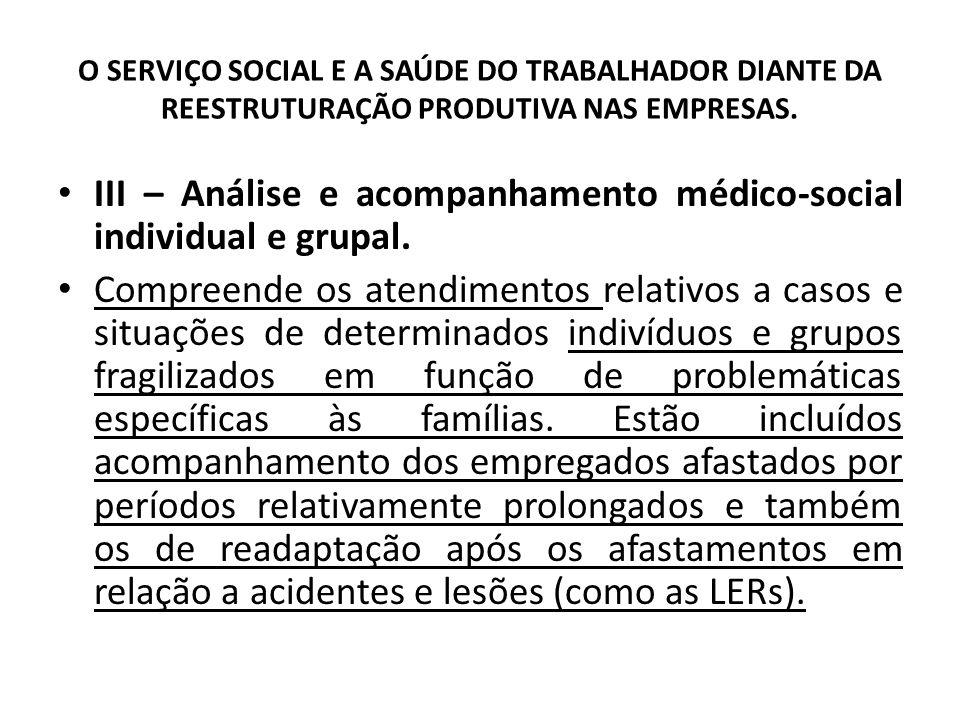O SERVIÇO SOCIAL E A SAÚDE DO TRABALHADOR DIANTE DA REESTRUTURAÇÃO PRODUTIVA NAS EMPRESAS. III – Análise e acompanhamento médico-social individual e g