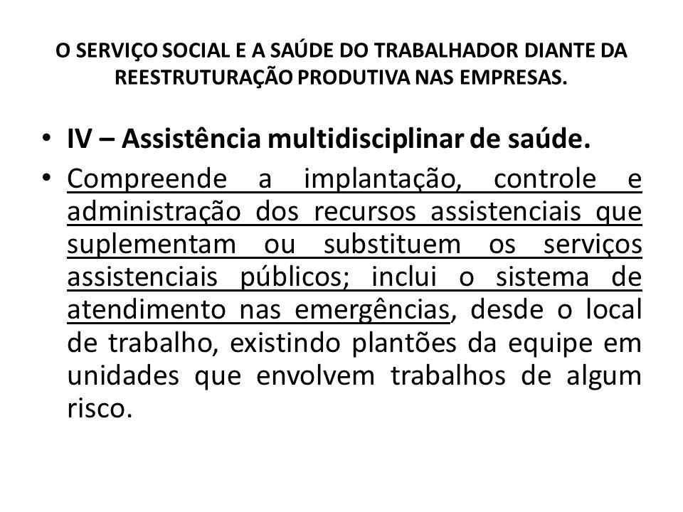 O SERVIÇO SOCIAL E A SAÚDE DO TRABALHADOR DIANTE DA REESTRUTURAÇÃO PRODUTIVA NAS EMPRESAS. IV – Assistência multidisciplinar de saúde. Compreende a im