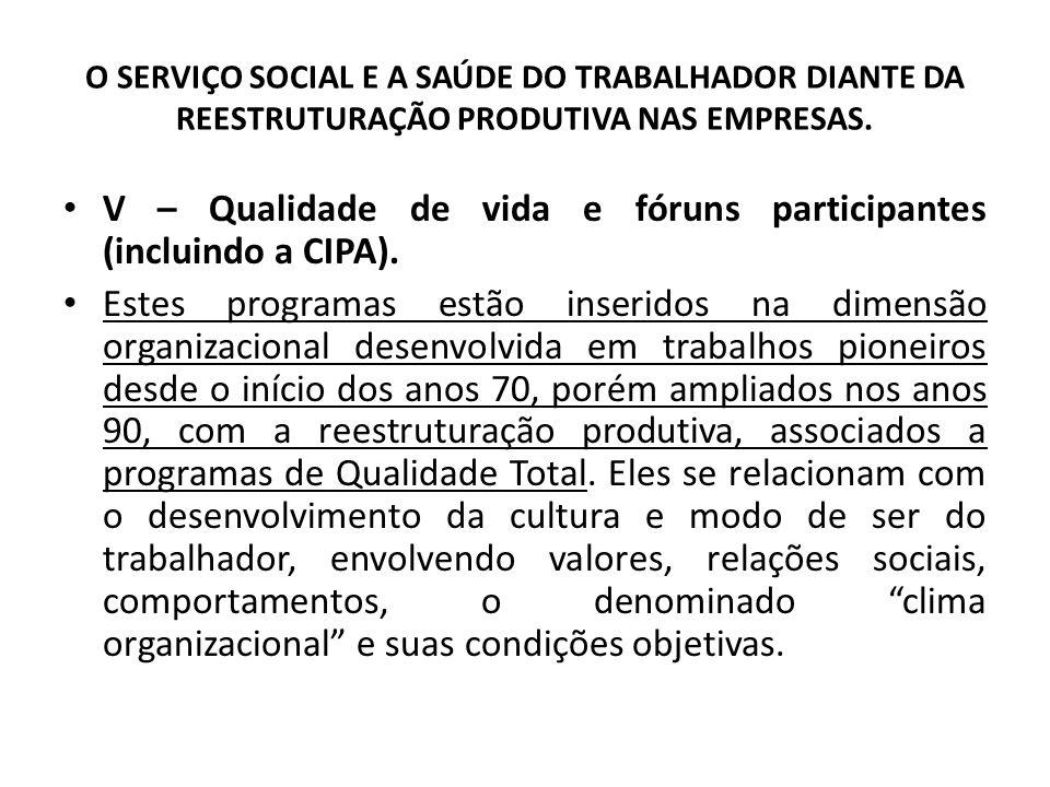 O SERVIÇO SOCIAL E A SAÚDE DO TRABALHADOR DIANTE DA REESTRUTURAÇÃO PRODUTIVA NAS EMPRESAS. V – Qualidade de vida e fóruns participantes (incluindo a C
