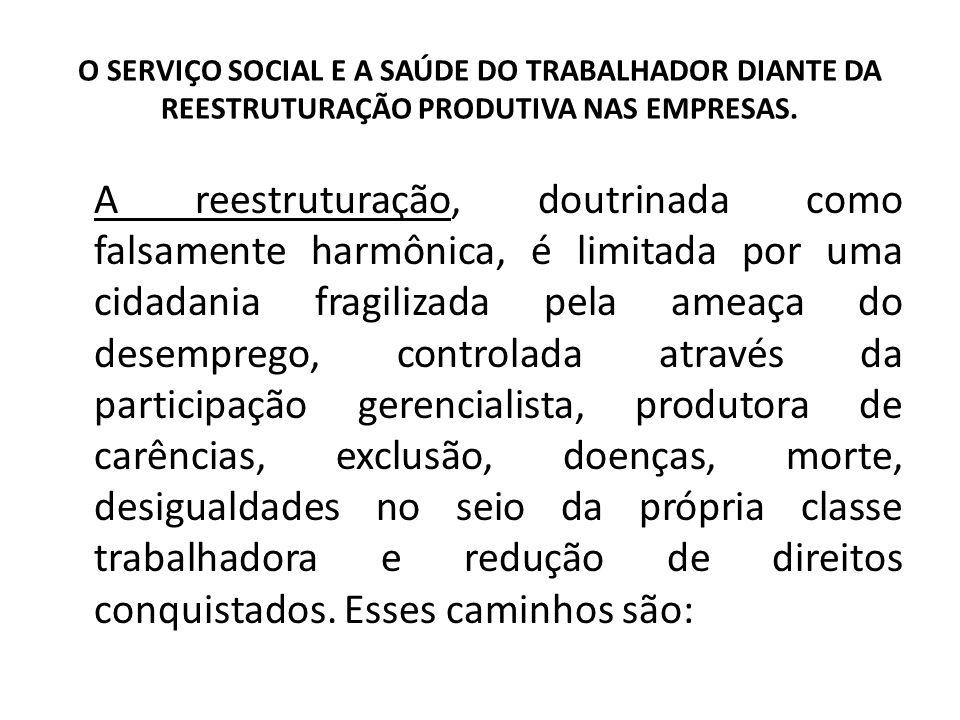 O SERVIÇO SOCIAL E A SAÚDE DO TRABALHADOR DIANTE DA REESTRUTURAÇÃO PRODUTIVA NAS EMPRESAS. A reestruturação, doutrinada como falsamente harmônica, é l