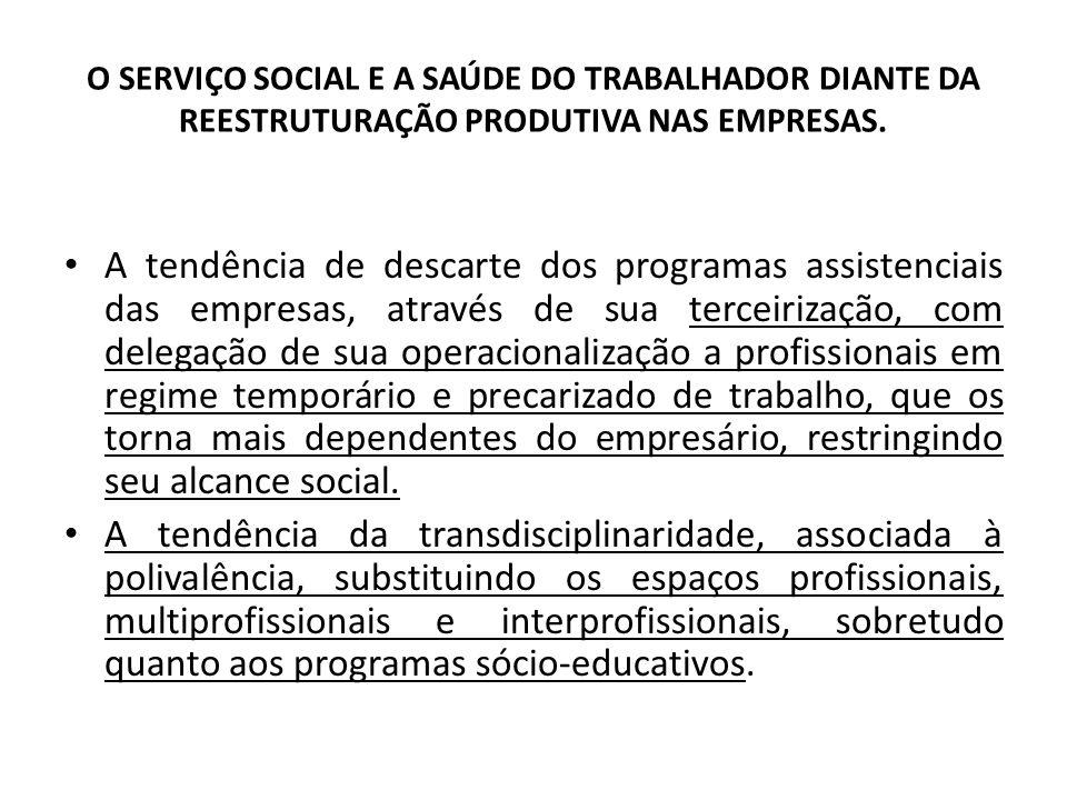 O SERVIÇO SOCIAL E A SAÚDE DO TRABALHADOR DIANTE DA REESTRUTURAÇÃO PRODUTIVA NAS EMPRESAS. A tendência de descarte dos programas assistenciais das emp
