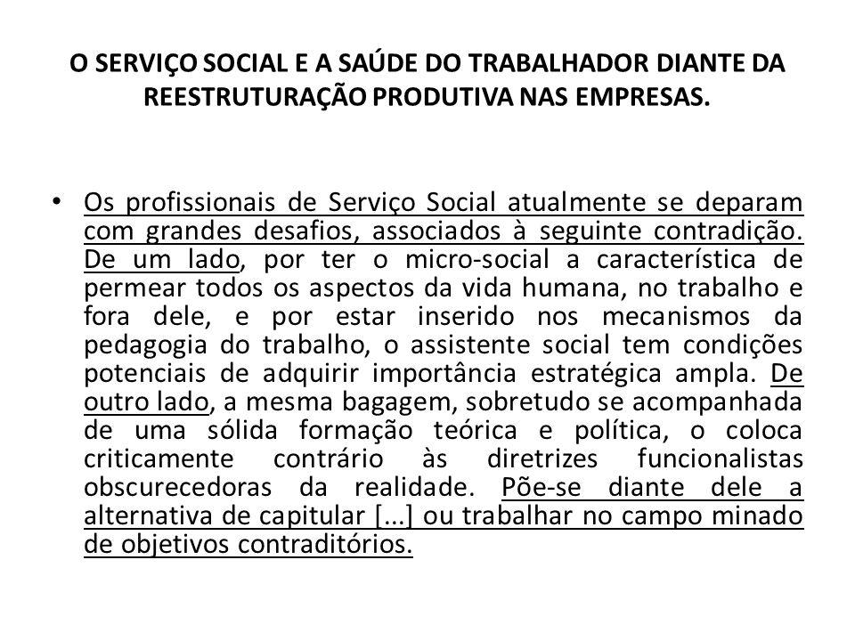 O SERVIÇO SOCIAL E A SAÚDE DO TRABALHADOR DIANTE DA REESTRUTURAÇÃO PRODUTIVA NAS EMPRESAS. Os profissionais de Serviço Social atualmente se deparam co