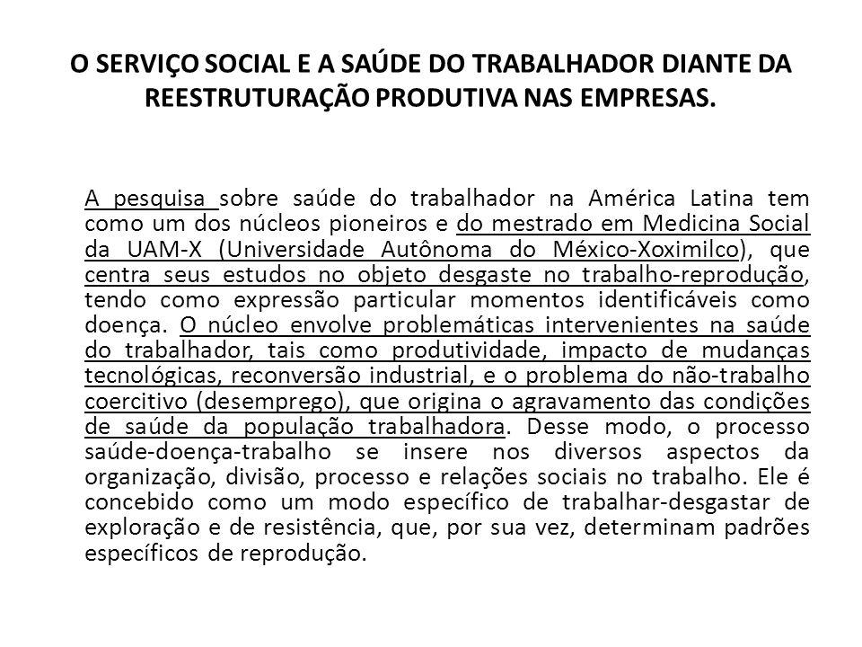 O SERVIÇO SOCIAL E A SAÚDE DO TRABALHADOR DIANTE DA REESTRUTURAÇÃO PRODUTIVA NAS EMPRESAS. A pesquisa sobre saúde do trabalhador na América Latina tem