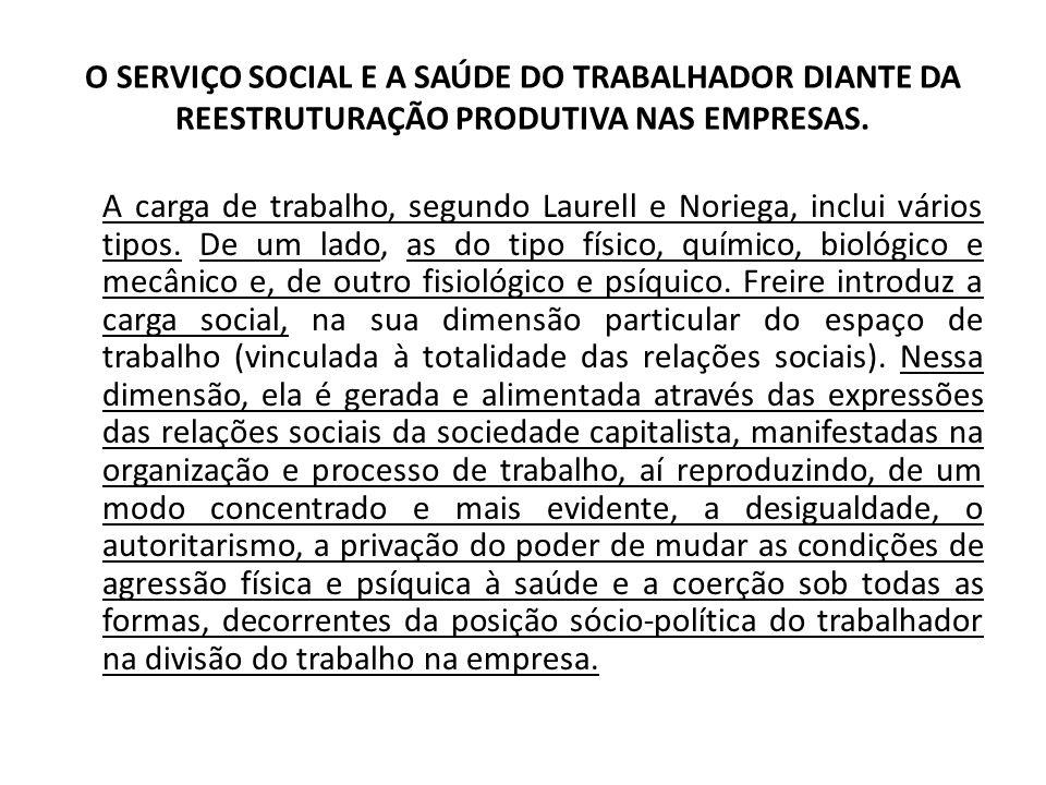 O SERVIÇO SOCIAL E A SAÚDE DO TRABALHADOR DIANTE DA REESTRUTURAÇÃO PRODUTIVA NAS EMPRESAS. A carga de trabalho, segundo Laurell e Noriega, inclui vári
