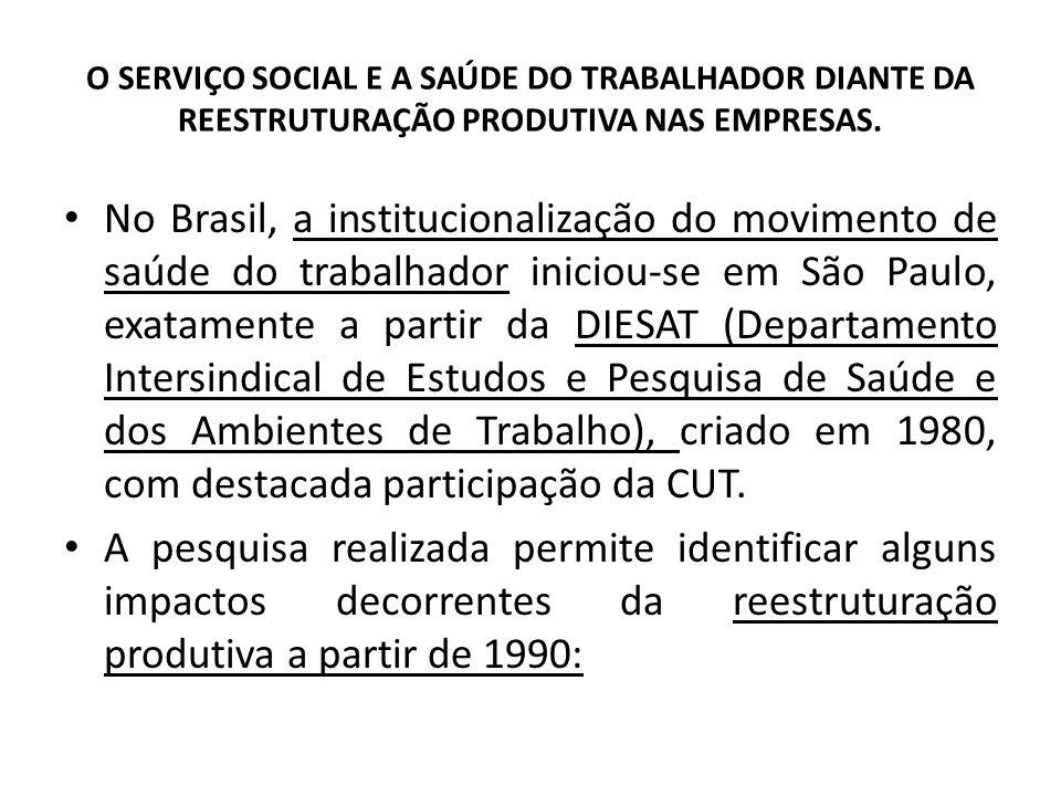 O SERVIÇO SOCIAL E A SAÚDE DO TRABALHADOR DIANTE DA REESTRUTURAÇÃO PRODUTIVA NAS EMPRESAS. No Brasil, a institucionalização do movimento de saúde do t