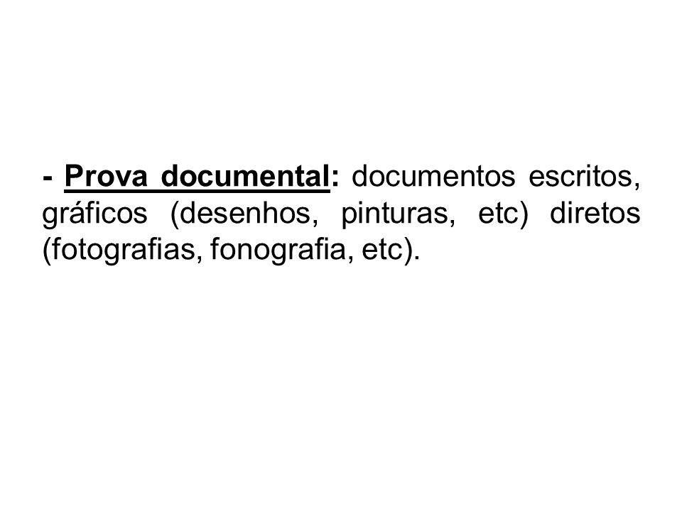 - Prova documental: documentos escritos, gráficos (desenhos, pinturas, etc) diretos (fotografias, fonografia, etc).