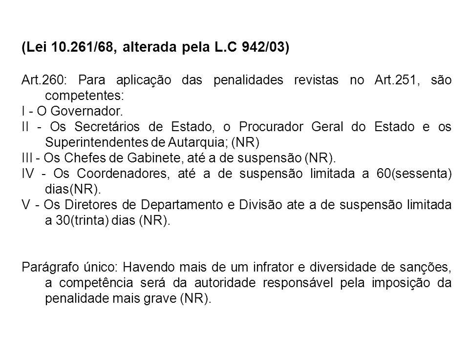 (Lei 10.261/68, alterada pela L.C 942/03) Art.260: Para aplicação das penalidades revistas no Art.251, são competentes: I - O Governador. II - Os Secr