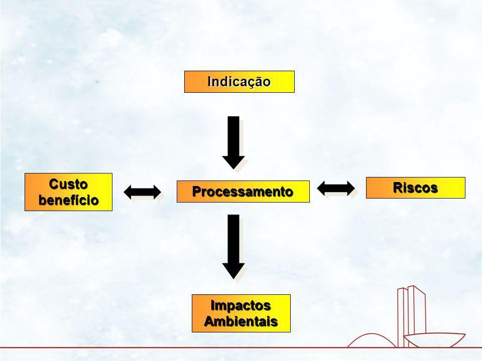 Processamento Indicação Riscos Custo benefício Impactos Ambientais