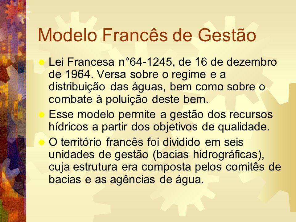 Modelo Francês de Gestão Ambos os órgãos gerenciam e arrecadam a cobrança (redevance) pelos serviços executados.