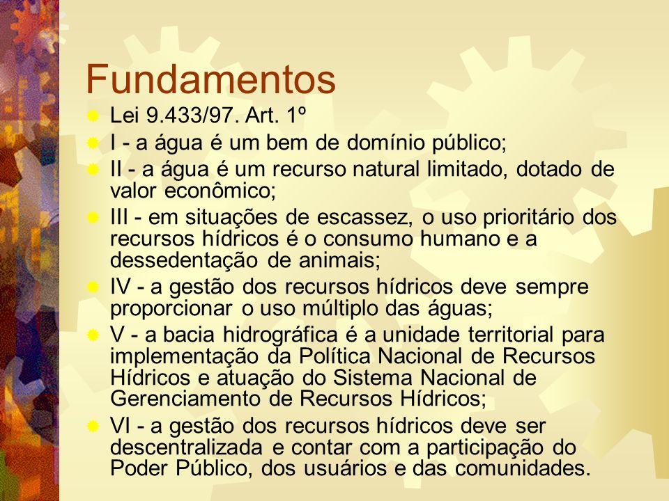 Princípios Princípio da gestão integrada e descentralizada Princípio dos múltiplos usos Princípio da participação popular (princípio democrático) Princípio da valoração econômica da água