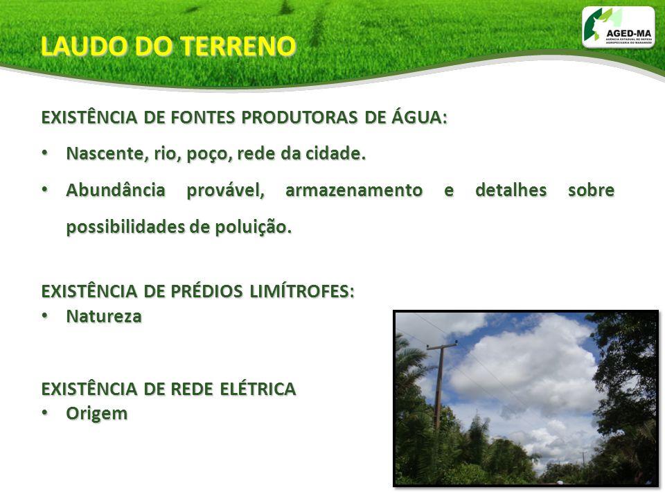 LAUDO DO TERRENO EXISTÊNCIA DE FONTES PRODUTORAS DE ÁGUA: Nascente, rio, poço, rede da cidade. Nascente, rio, poço, rede da cidade. Abundância prováve