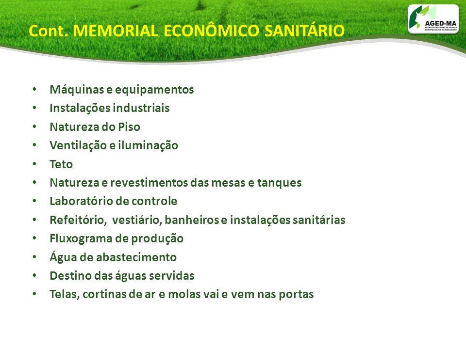 Cont. MEMORIAL ECONÔMICO SANITÁRIO Máquinas e equipamentos Instalações industriais Natureza do Piso Ventilação e iluminação Teto Natureza e revestimen