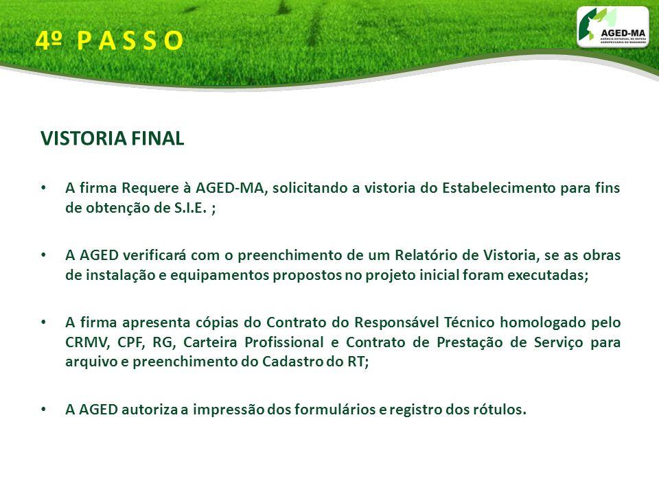 4º P A S S O VISTORIA FINAL A firma Requere à AGED-MA, solicitando a vistoria do Estabelecimento para fins de obtenção de S.I.E. ; A AGED verificará c