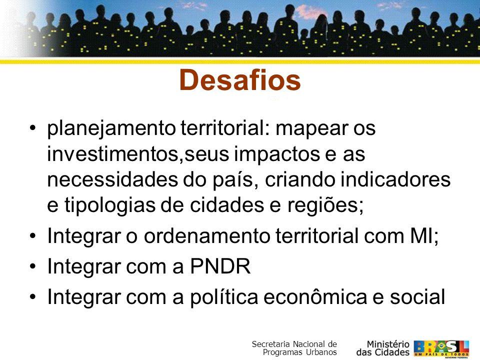 Secretaria Nacional de Programas Urbanos Desafios planejamento territorial: mapear os investimentos,seus impactos e as necessidades do país, criando i