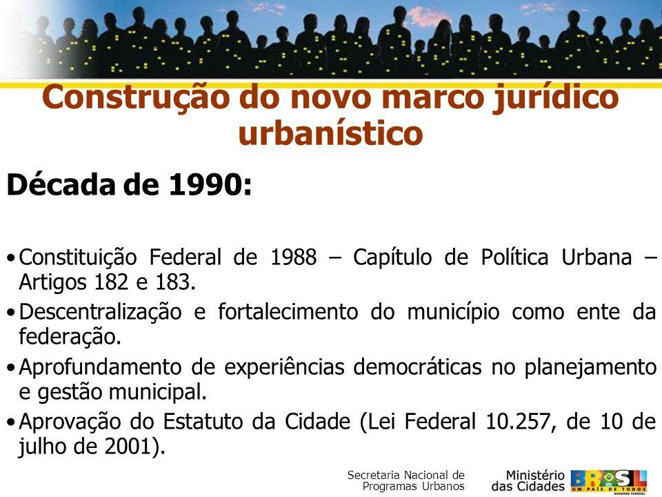 Secretaria Nacional de Programas Urbanos Década de 1990: Constituição Federal de 1988 – Capítulo de Política Urbana – Artigos 182 e 183. Descentraliza