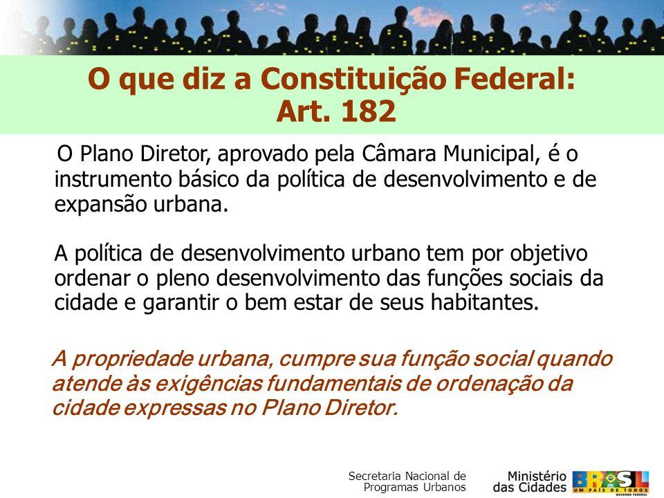 Secretaria Nacional de Programas Urbanos O Plano Diretor, aprovado pela Câmara Municipal, é o instrumento básico da política de desenvolvimento e de e